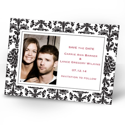 Damask Border - Black - Photo Save the Date Card