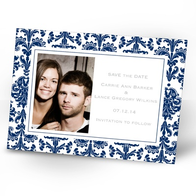 Damask Border - Eclipse - Photo Save the Date Card