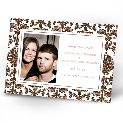 Damask Border - Chocolate - Photo Save the Date Card