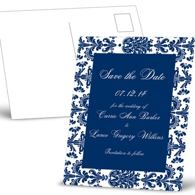 Damask Border - Eclipse - Save the Date Postcard