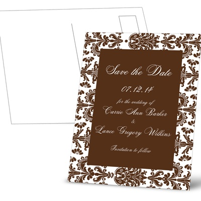 Damask Border - Chocolate - Save the Date Postcard