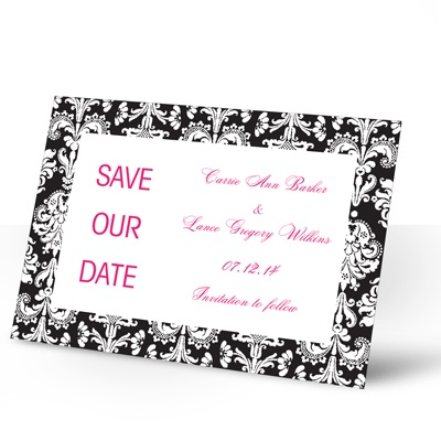 Damask Border - Black - Save the Date Card