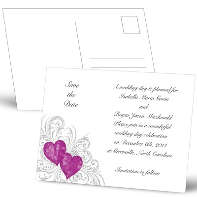 Hearts and Flourishes - Amethyst and Sterling - Save the Date Postcard