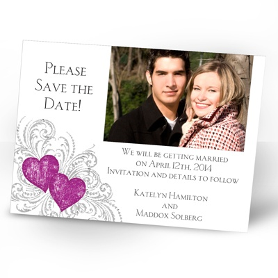 Hearts and Flourishes - Amethyst and Sterling - Photo Save the Date