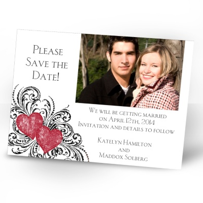 Hearts and Flourishes - Barn Red and Black - Photo Save the Date Card