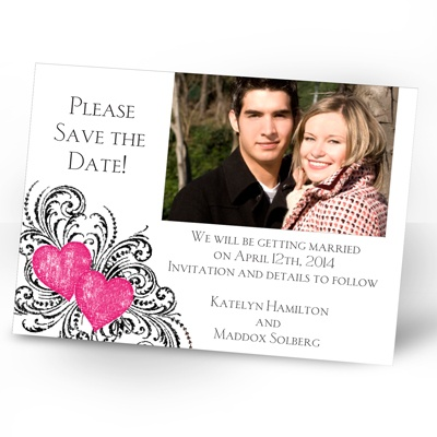 Hearts and Flourishes - Lipstick and Black - Photo Save the Date Card