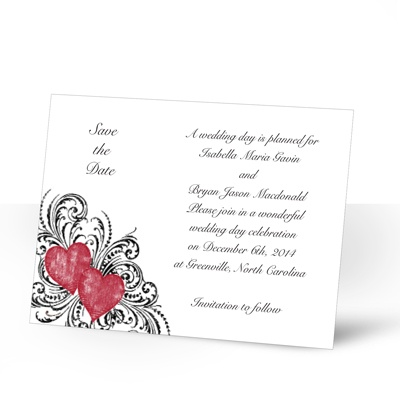 Hearts and Flourishes - Barn Red and Black - Save the Date Card