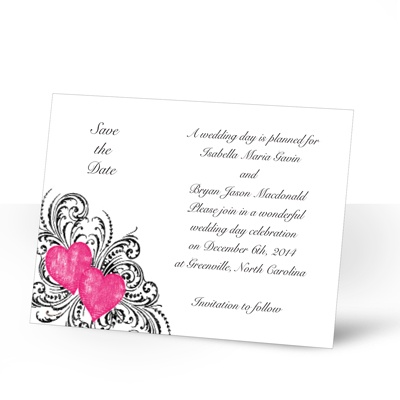 Hearts and Flourishes - Lipstick and Black - Save the Date Card