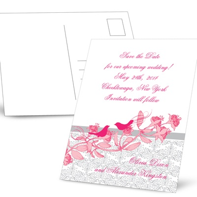 Love Birds - Sterling and Lipstick - Save the Date Postcard