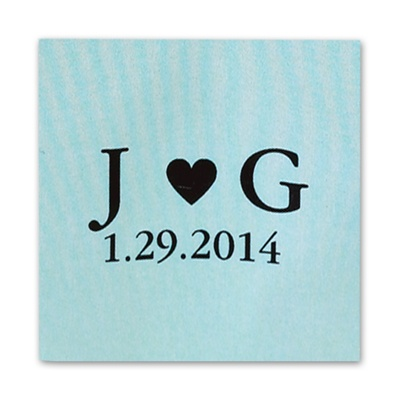 Initials and Heart - Lagoon - Favor Labels