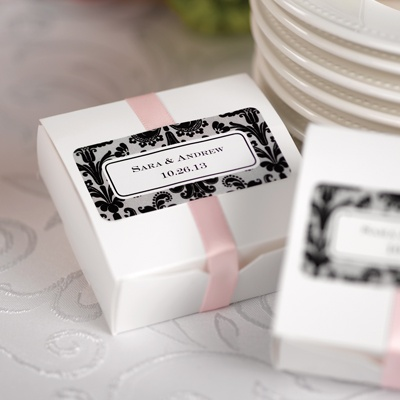 Ebony Damask Personalized Wedding Labels
