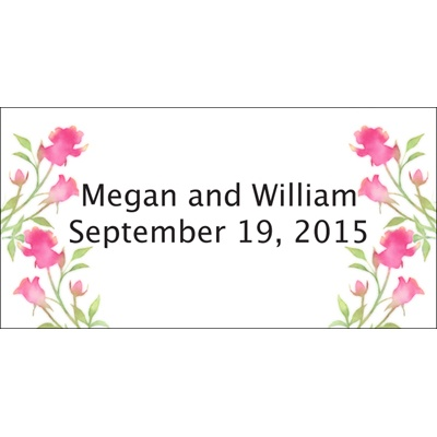 Lipstick Watercolor Roses Personalized Wedding Labels