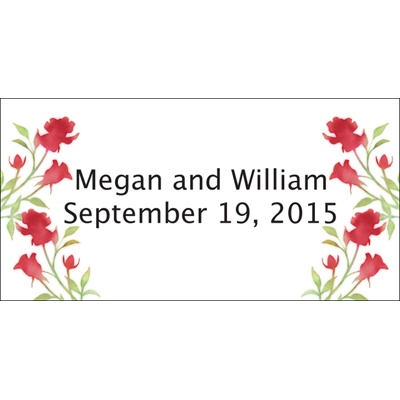 Scarlet Watercolor Roses Personalized Wedding Labels