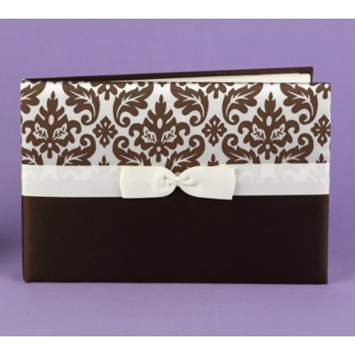 Elegant Damask Guest Book - Mocha and Ivory