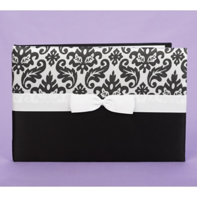 Elegant Damask Guest Book - Black and White