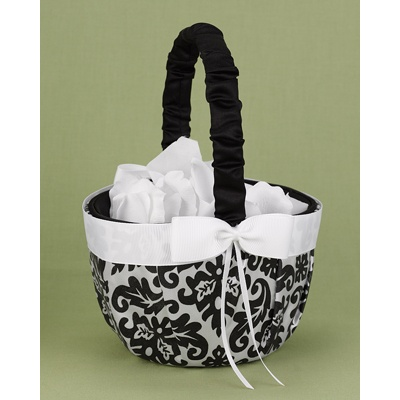 Elegant Damask Basket - Black and White