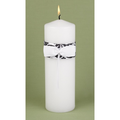 Elegant Damask Unity Candle - Black and White