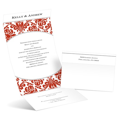 Damask Arch - Scarlet - Seal and Send Invitation