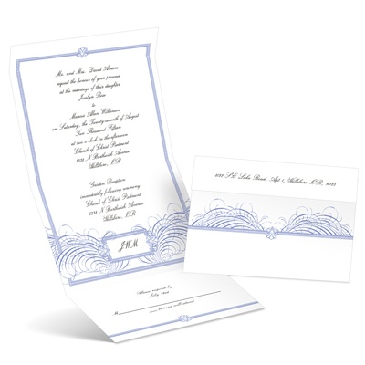 Feathered Flourish - Hydrangea - Seal and Send Invitation