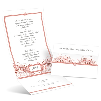 Feathered Flourish - Scarlet - Seal and Send Invitation