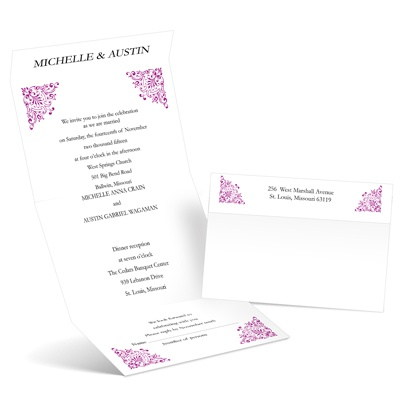 Vintage Corners - Amethyst - Seal and Send Invitation