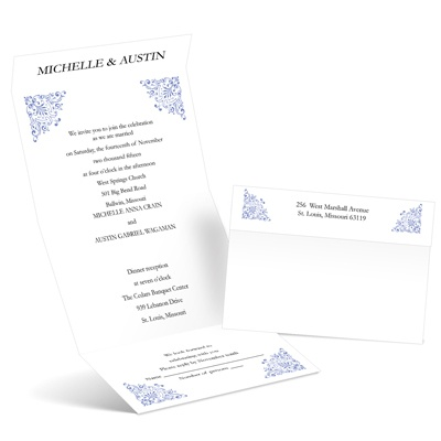 Vintage Corners - Hydrangea - Seal and Send Invitation
