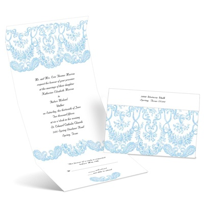 Baroque Beauty - Cornflower - Seal and Send Invitation