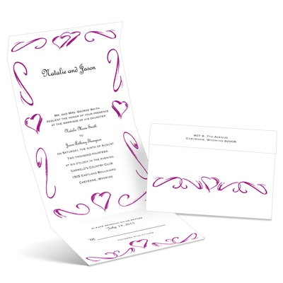 Heartfelt Frame - Amethyst - Seal and Send Wedding Invitation