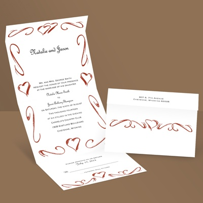 Heartfelt Frame - Scarlet - Seal and Send Wedding Invitation