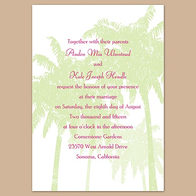 Pretty Palms - Pear - Invitation