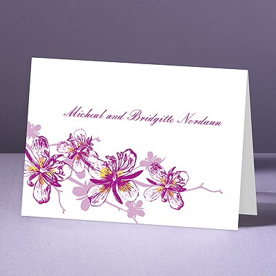 Orchids - Amethyst - Thank You Note Folder and Envelope