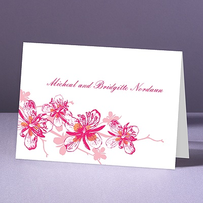 Orchids - Lipstick - Thank You Note Folder and Envelope