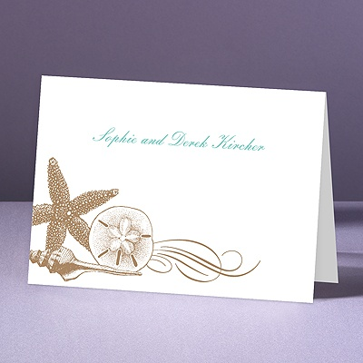 Starfish and Seashells - Latte - Thank You Note Folder and Envelope