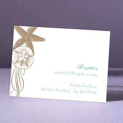 Starfish and Seashells - Latte - Reception Card