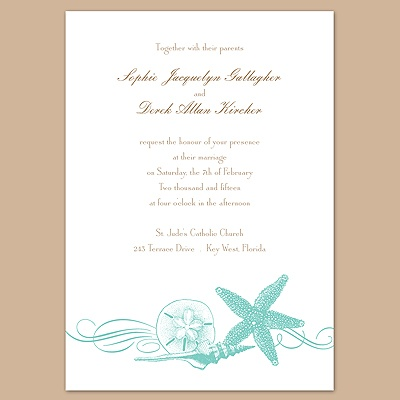 Starfish and Seashells - Lagoon - Invitation
