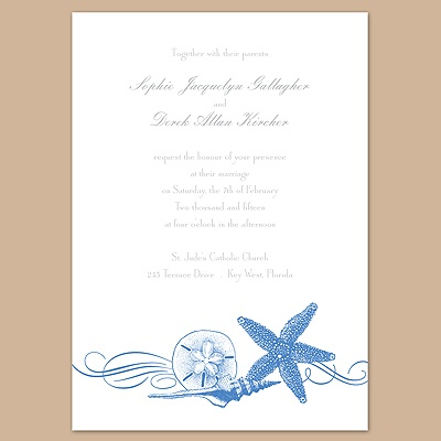 Starfish and Seashells - Ocean - Invitation