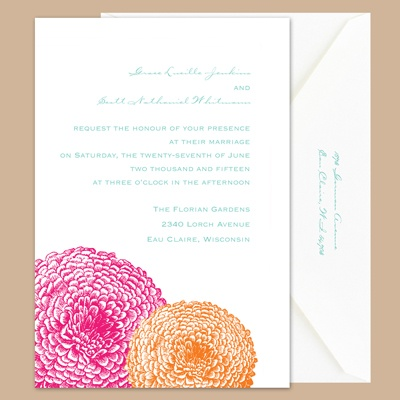 Pair of Mums - Lipstick/Tangerine - Invitation
