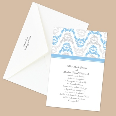 Damask Arches - Cornflower - Invitation