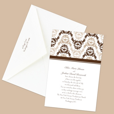 Damask Arches - Chocolate - Invitation