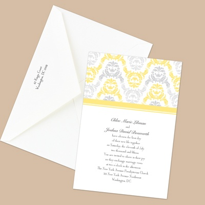 Damask Arches - Canary - Invitation