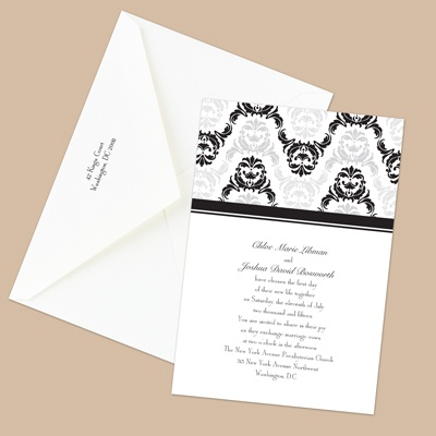 Damask Arches - Black - Invitation