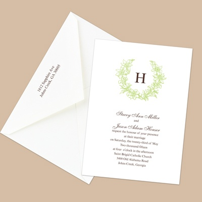 Floral Crest - Leaf - Invitation