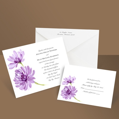 Watercolor Peony - Amethyst - Invitation
