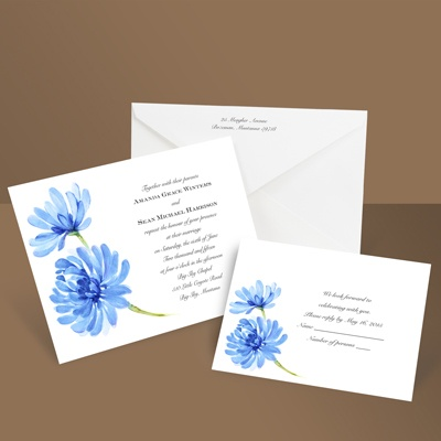 Watercolor Peony - Blue - Invitation