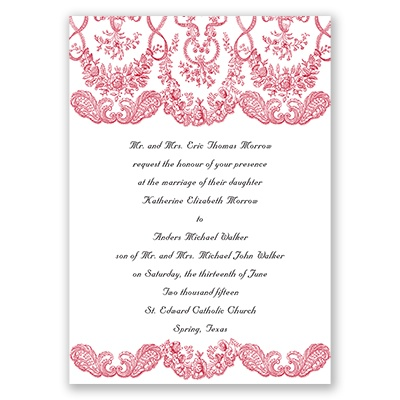 Forever Flourish - Barn Red - Invite with Free Response Postcard