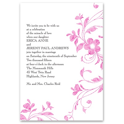 Pretty Floral - Lipstick - Invitation with Free Respond Postcard