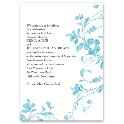 Pretty Floral - Palm - Invitation with Free Respond Postcard