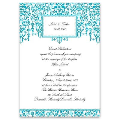 Chandelier Chic - Palm - Invitation with Free Response Postcard