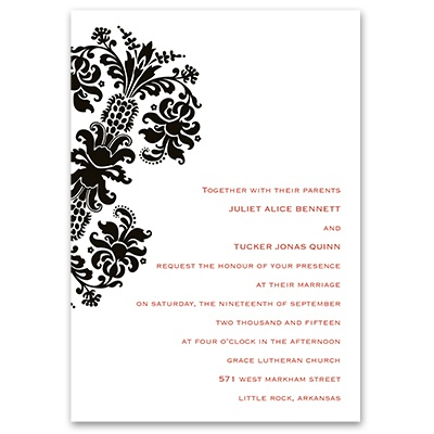 Dramatic Accent - Ebony - Invitation with Free Respond Postcard