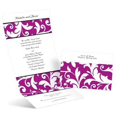 Flourish Silhouettes - Amethyst - Seal and Send Invitation